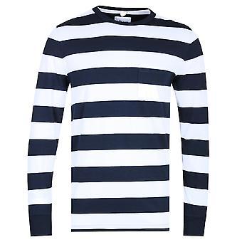 Albam pitkähihainen leveä raita Navy & valkoinen T-paita