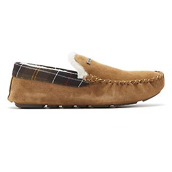Barbour Monty Suede Mens Camel Tan Moccasin Slippers