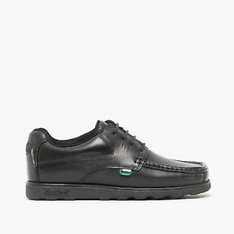 Kickers Fragma15 Lace Junior Boys Leather Shoes Black