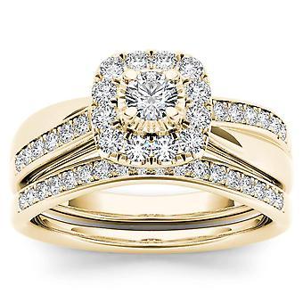 IGI certifié 14 K or jaune 5/8 CT TDW Diamond Halo mariée Set (I-J, I2)