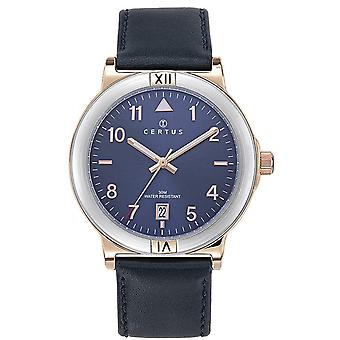 Horloge Certus 611247-zilver staal en dor lederen armband blauw mannen