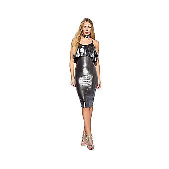 P UK Frill Bodycon Metallic Detail Midi Dress