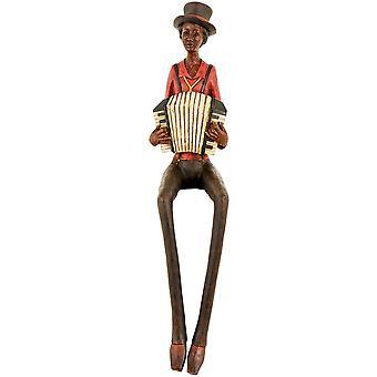 Hill-Interieurs sitzen Jazzband Akkordeonist