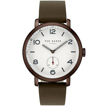 Ted Baker Harry Quartz White Dial Green Leather Strap Men-apos;s Watch TE50372001