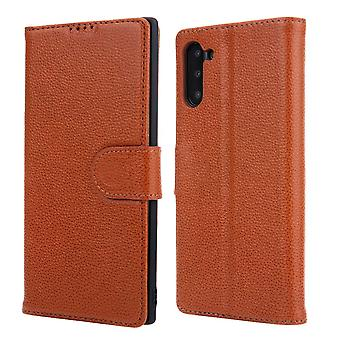 For Samsung Galaxy Note 10 Case Brown Cowhide Genuine Leather Flip Wallet Cover