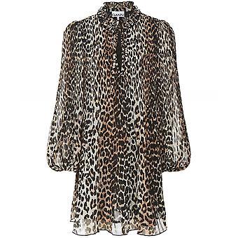 Ganni Pleated Leopard Print Georgette Mini Dress