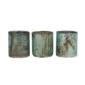 Light & Living Tealight 3 Set 7x8cm - Lapas Matted Turquoise-Copper Rust