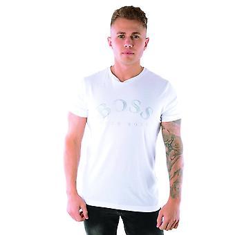 Hugo Boss | 50413795 Cotton Jersey Gebogen logo half mouwen T-shirt