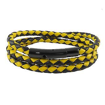 Lederen ketting lederen koord 4 mm heren ketting zwart / geel 17-100 cm lang met hendel print gesp zwart gevlochten