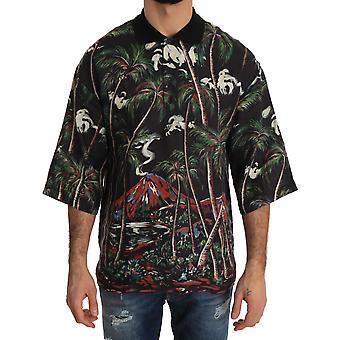 Dolce & Gabbana Schwarz Vulkan Sizilien Kurzarm T-Shirt