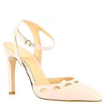 Leonardo Shoes Women's handmade ankle strap heels sandals powder pink napa