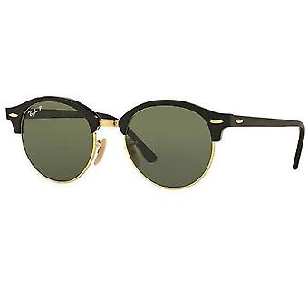 Ray Ban 0rb4246 901/58 51 Black And Green Polarized Club Round Classic Unisex Sunglasses