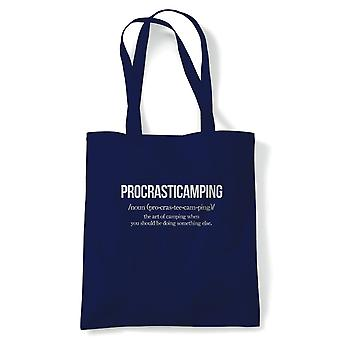 Procrasticamping, Tote, Wild Camping Campervan Reusable Shopping Canvas Bag Gift