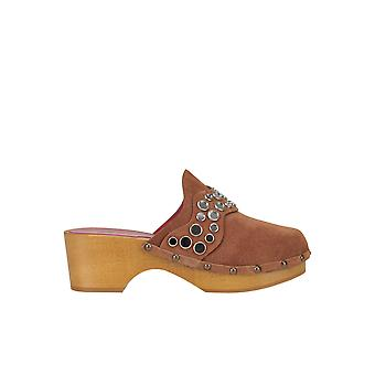 181 Ezgl315010 Women's Brown Suede Slippers