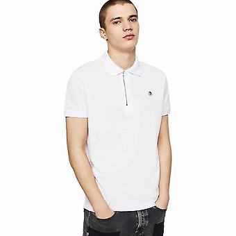 Diesel T-hart Quarter Zip White Polo Shirt