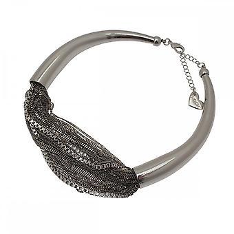 Nour London Silver Multi Chain Detail Necklace