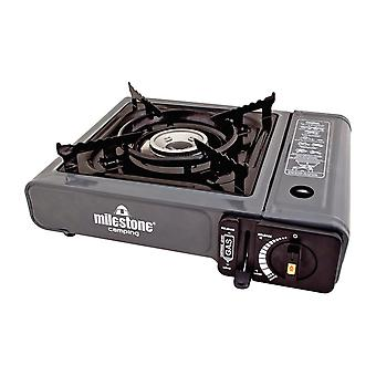 Milestone Portable Gas Camping Stove Single Burner Black