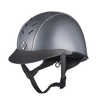Charles Owen Ayrbrush Riding Helmet - Grey/silver Pinstripe
