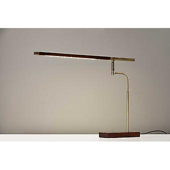 "22"" X 16-23"" X 16.5-28.5"" Walnut Wood LED Bordlampe"