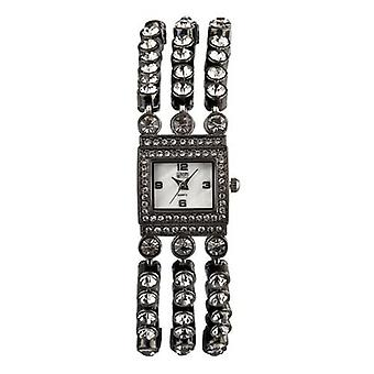 Eton mujeres piedra conjunto multi hebra pulsera reloj, real mop dial, acabado negro