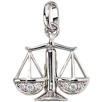 Ladies Pendant Zodiac Libra 925 Silver with Zirconia Zodiac Pendant