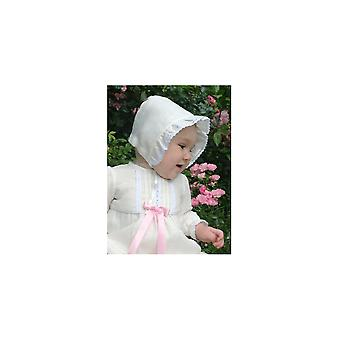 Christening Bonnet In Off White Linen With Antique Look. Grace Of Sweden