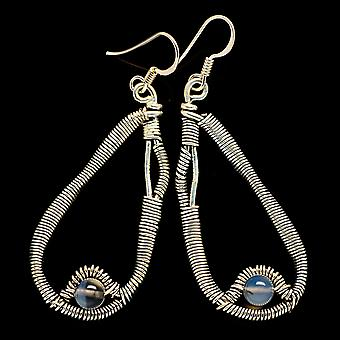 "Rainbow Moonstone Earrings 2 1/4"" (925 Sterling Silver)  - Handmade Boho Vintage Jewelry EARR400510"