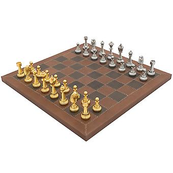 The Messina Gold and Silver Italian Leather Luxury Chess Set