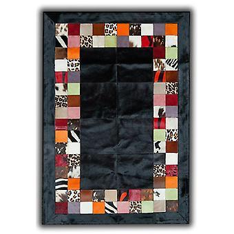 Tepper - lappeteppe skinn Cubed okseskinn - SR4 svart Multi
