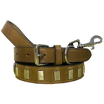 Bradley crompton genuine leather matching pair dog collar and lead set bcdc10khakibrown