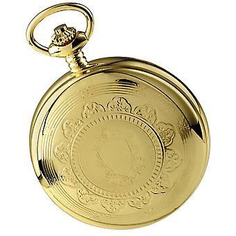 Woodford guldpläterade dubbla tidszon dubbel Full Hunter skelett mekanisk fickur - guld
