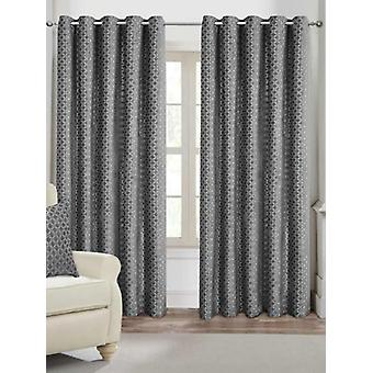 Belle Maison Lined Eyelet Curtains, Palermo Range, 46x90 Silver