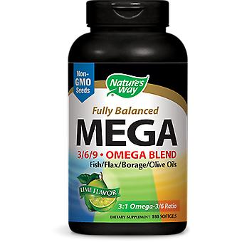 Maximale sterkte Omega 3/6/9 Mix, Limoen smaak, 1350 mg (180 gelcapsules) - Nature-apos;s Way