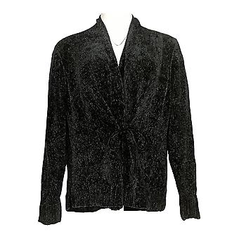 Anybody Women's Sweater Chenille Tie-Front Cardigan Collared Black A372139