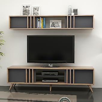 Mobile Port TV Bren Color Walnut, Anthrathic in Melaminic Chip 180x25x29 cm, 180x35x48 cm