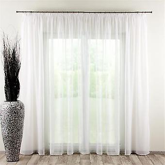 Gardine mit Kräuselband, weiss mit Bleiband, 300 × 260 cm, Voile, 901-00