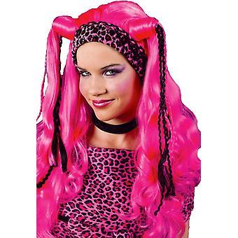 Monivärinen peruukki Diva vaaleanpunainen