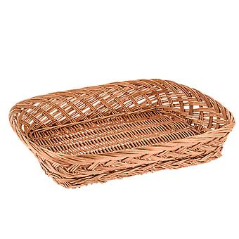 36cm Shallow Mid-Brown Wicker Gift Basket or Hamper Tray