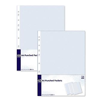 A4 Clear Plastic Punched Pockets