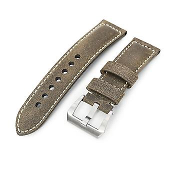 Strapcode calf leather watch strap miltat 24mm genuine olive brown distressed leather watch strap extra soft, beige stitching