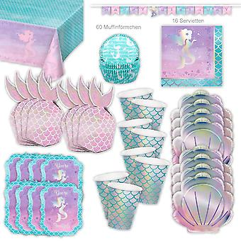 Mermaid Glitter Party Set XL 110-Piece voor 8 gasten Party Mermaid Verjaardag Decoratie Party Pakket