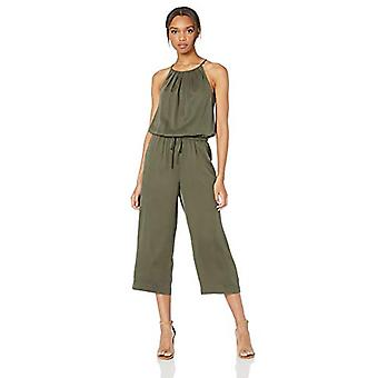 Brand - Daily Ritual Women's Tencel Halter Jumpsuit, Dark Olive, 16