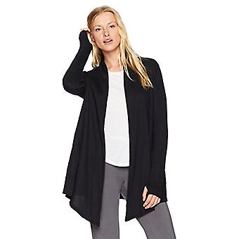 Marca - Mae Women's Loungewear Drapey Cardigan, Negro, XL