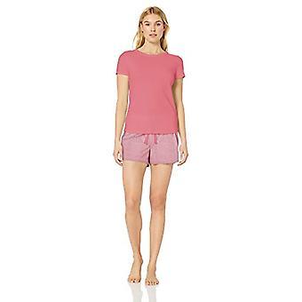 Essentials Women's Poplin Short and Sleep Tee Set, Coral Gingham/Pink, XS