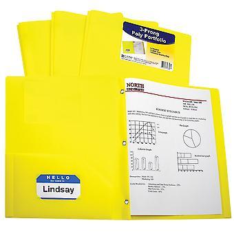 33966BNDL12EA, Carpeta de cartera de poliéster pesado de dos bolsillos con puntas, amarillo (conjunto de 12 carpetas)