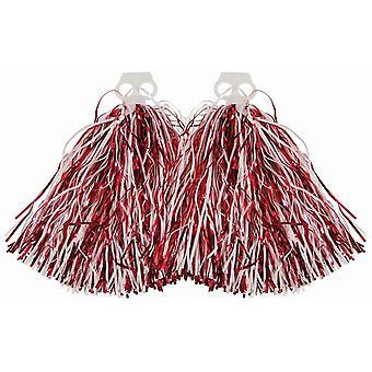 Pompoms rød og hvid Carnival Cheerleader Glitter Tufts Dancing Pom Pom