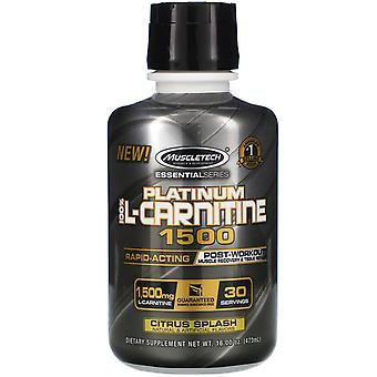 Muscletech, Essential Series, Platinum 100% L-Carnitine 1500, Post-Workout, Citr