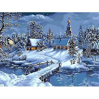 Diy Winter Scenery Oil Painting By Numbers Full Kit