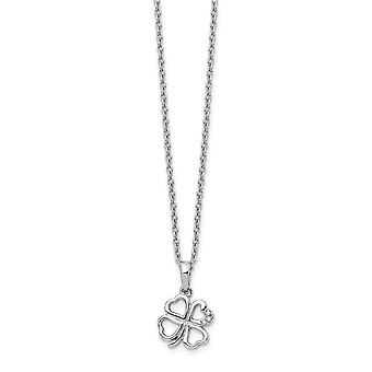 White Ice Diamond Clover Necklace 18 Inch Jewelry Gifts for Women - .010 dwt