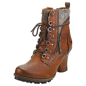 Mustang Side Zip Heel Womens Ankle Boots in Cognac